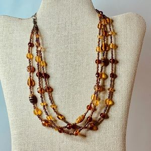 Jewelry - Vintage Necklace of Glass, Amber & Tiger's Eye